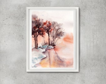 Landscape painting, ORIGINAL watercolor painting, winter landscape with frozen lake, tree painting, watercolour art