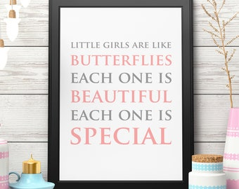 Butterfly Quote Print Butterfly Nursery Art Pink Nursery Baby Shower Gift for Her Butterfly Printable Instant Download Digital Download