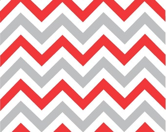 Red, grey and white chevron craft  vinyl sheet - HTV or Adhesive Vinyl -  large zig zag pattern HTV191