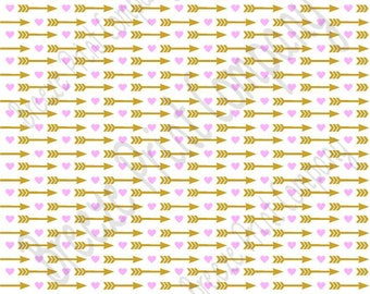 White with light pink heart and gold arrow pattern craft  sheet - HTV or Adhesive Vinyl -  Valentine's Day HTV3707