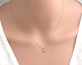 Gold tiny star necklace , silver tiny star necklace , gold filled compass necklace , gold direction necklace , dainty gold necklace