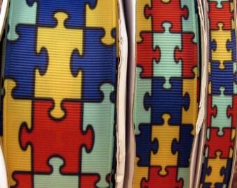 "2 Yards 3/8"", 7/8"" or 1.5"" Autism Awareness - Puzzle Piece Print Grosgrain Ribbon - US Designer"
