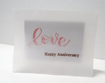 Handmade greeting card - Anniversary card - Love - Happy Anniversary - Metallic - Card for husband - Card for wife