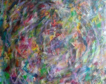 Abstract  painting titled Color circles 20x20 Abstract Acrylic Canvas Original Painting