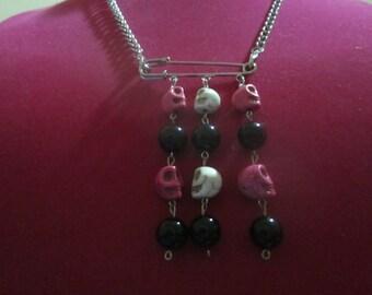 Pink & Bone Color Skull Necklace
