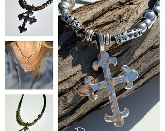 Cross necklace, multistrand leather