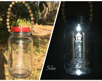 Hanging Outdoor Lights - Lighthouse Lantern For Garden - Etched Engraved Glass Gift - Nautical Theme Deorations - Outdoor Solar Lighting