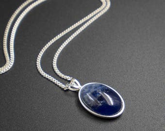 Sodalite pendant necklace, Sodalite and sterling silver handmade semiprecious stone pendant necklace, blue silver sodalite pendant necklace