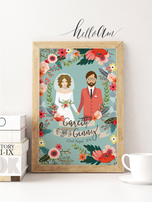 Unique wedding gift - Wedding gift ideas - Gift for her - Wedding illustration - Wedding portrait - Wedding gift - Couple portrait