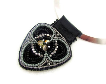 Bead embroidery necklace - celtic pendant necklace - tribal jewelry necklace - fashion jewelry necklace - silver and black color necklace