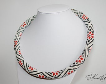 Bead crochet necklace - Beaded rope necklace - Handmade jewelry -  Seed Bead necklace