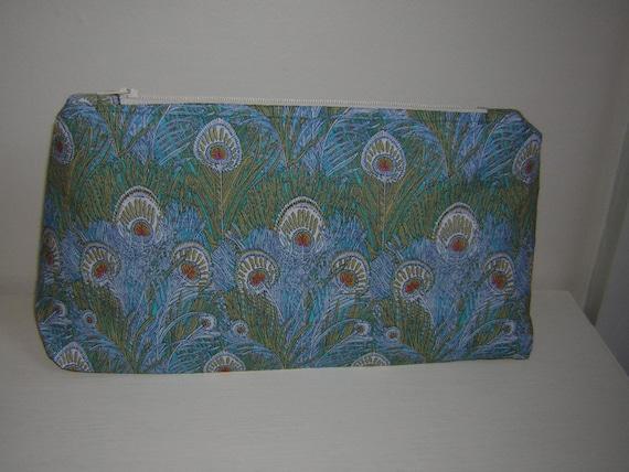 Liberty Fabric Make Up Bag  'Hera Aqua' Peacock Feather Design