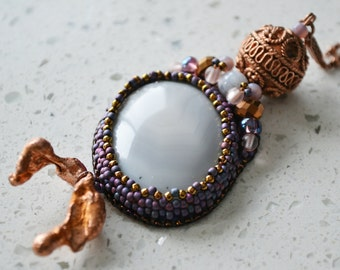 """Bead Embroidered Necklace """"Michigan"""" (Statement Necklace)"""