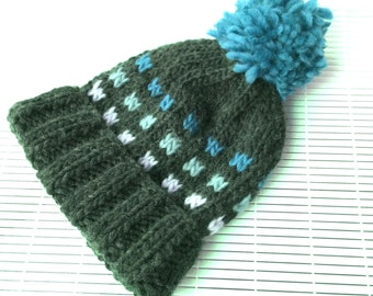 Knitting Pattern * Leman Beanie Hat * Instant Download pattern #470 * Colorwork * bulky * pompom * newborn baby toddler child teen woman