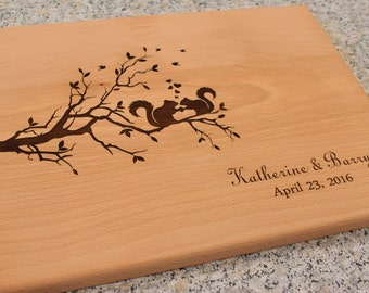 Personalized Cutting Board Squirrel Lovers on Tree Branch Wedding Anniversary Gifts Squirrel Home Decor Hostess Gift Mom Gift