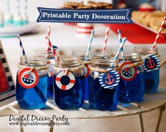 Nautical Party Circles Cupcake Toppers Drink Tags Printable ddp0001