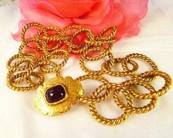 1980s CHANEL PARIS Season 25 Deep Ruby Gripoix Clasp Medallion Chain Necklace