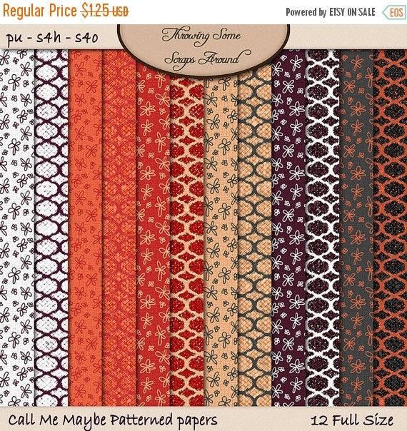 ON SALE Digital Scrapbook, Patterned, Textured, Paper: Call Me Maybe