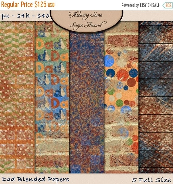 ON SALE Digital Scrapbook: Papers, Dad Digital Blended Papers