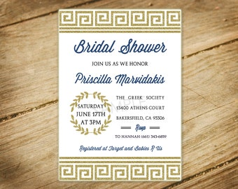 Greek Themed Bridal Shower / Baby Shower / Toga Party / Gold Glitter and Navy Blue