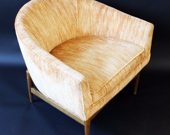 Mid Century Modern Barrel Lounge Chair by Lawrence Peabody Walnut Wood Base