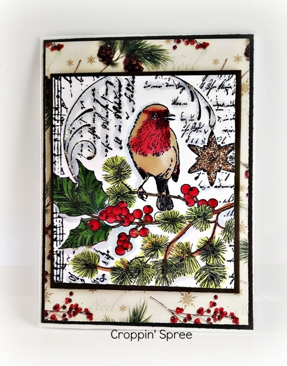One of a Kind Handmade. Robin in a frosty tree. Original handmade cards by Croppin' Spree