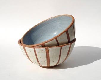 Skye bowl - Hand thrown ceramic striped bowls with light blue interior