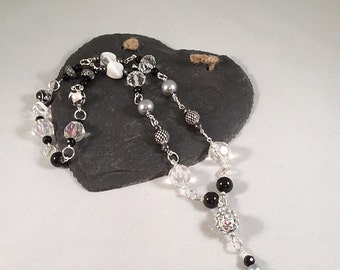 Black and Silver Beaded Chain Link Necklace