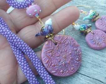 Beautiful HAnd STamped Polymer Clay  Lampwork Pendant Necklace set~ Bead crochet Rope necklace