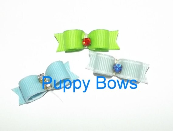 Puppy Bows ~Barrette snap clip SHOW tiny PINK BLUE bow dog Shih Tzu ~Usa seller
