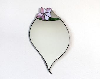 Vintage Tiffany wall mirror German 1960s glass art mirror large wall decor purple green