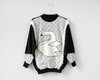 Vintage jumper 1980s black white sweater fur fabric swan application lace jumper