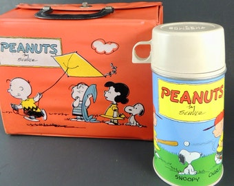1965 Vinyl Peanuts Lunchbox with Thermos - Charles Schulz