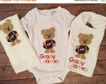 Football Bear Bib, Baby Bodysuit, and Burp Cloth Set
