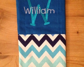Shades of Blue Chevron Monogrammed Burp Cloth