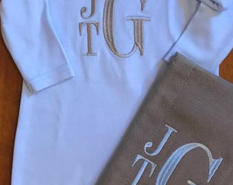 Light Blue and Grey Monogram Baby Boy Gown, Burp Cloth, and Hat Set
