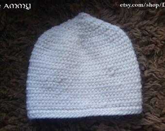 White wool Viking cap for child, naalbinding