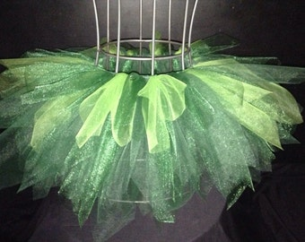 Long green bustle tutu