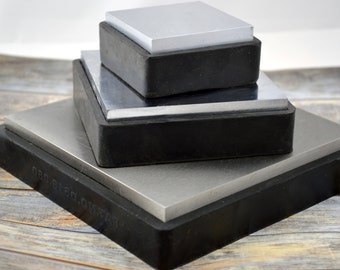 "Steel BENCH BLOCK, 2 1/2"", 4"" or 6"" Square Steel Block with Rubber Base, Metal Forming Jewelry Making Tool"