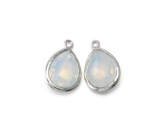 Opal Glass Pendant . Jewelry Craft Supplies . Polished Original Rhodium Plated over Brass / 2 Pcs - AG016-PR-OP