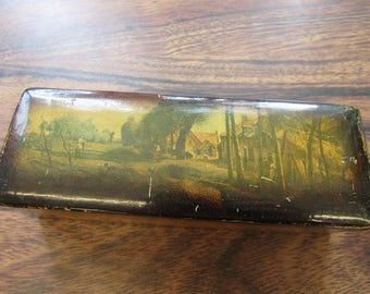 Vintage Funky Italian Wood Box Unusual with Farmhouse Scene