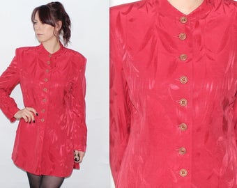Vintage 1990's Red FLORAL PATTERNED Long Sleeves Button Up FITTED Jacket Size 12