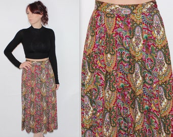 """Vintage 1990's Pink Green FLORAL PAISLEY Patterned High Waisted MIDI Skirt Size 8 10 Waist 25"""" 26"""""""