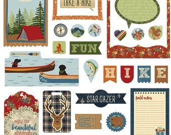 Photoplay CAMPFIRE LAKESIDE Ephemera Die Cuts - Camping Woods Vacation Cardstock 26 Designs CL-2523