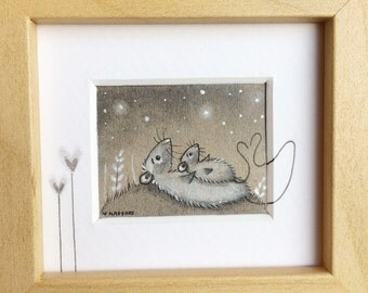 Counting stars, handpainted, Mini illustration, Custom made, one of a kind, finetec, silver, silver stars, starry sky, nursery art, newborn