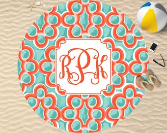 Monogram Beach Towel | Round Towel | Monogram Towel | Personalized Beach Towel