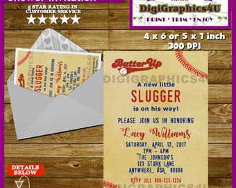 Baseball, Little Slugger Baby Shower Invitation - Printable Personalized  File