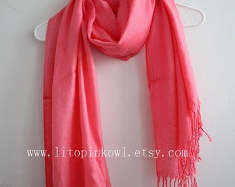 Coral Pink Pashmina Scarf, Gift For Her, Christmas Present, Christmas Gifts, For Her, For Women, For Mom, Womens Scarves