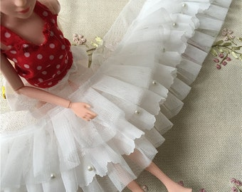 """1 yard Lace Trim Exquisite Ruffled Tulle Ivory Chiffon 3 Layer Bead Pearl Wedding Trim 3.93"""" width"""