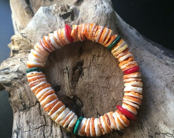 Spiny Oyster Shell Bracelet, Santo Domingo White and Orange Oyster Shell Beads, Southwestern Coral and Turquoise Bracelet.